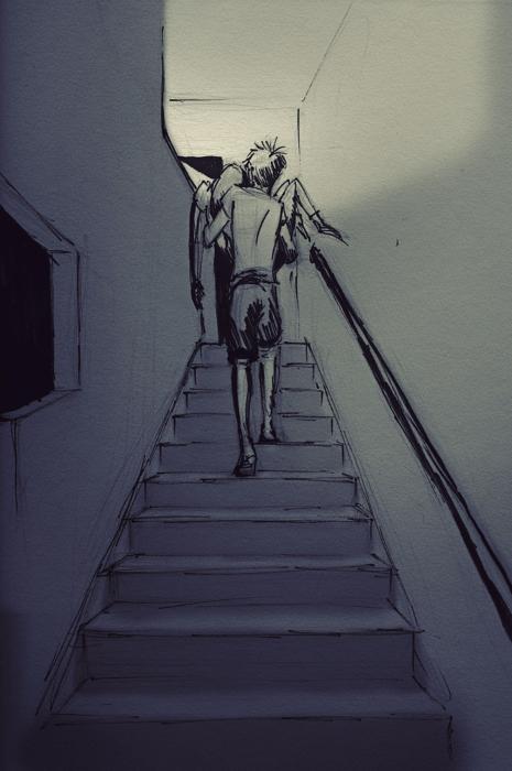 dibujo de un hombre cargando a su esposa por las escaleras