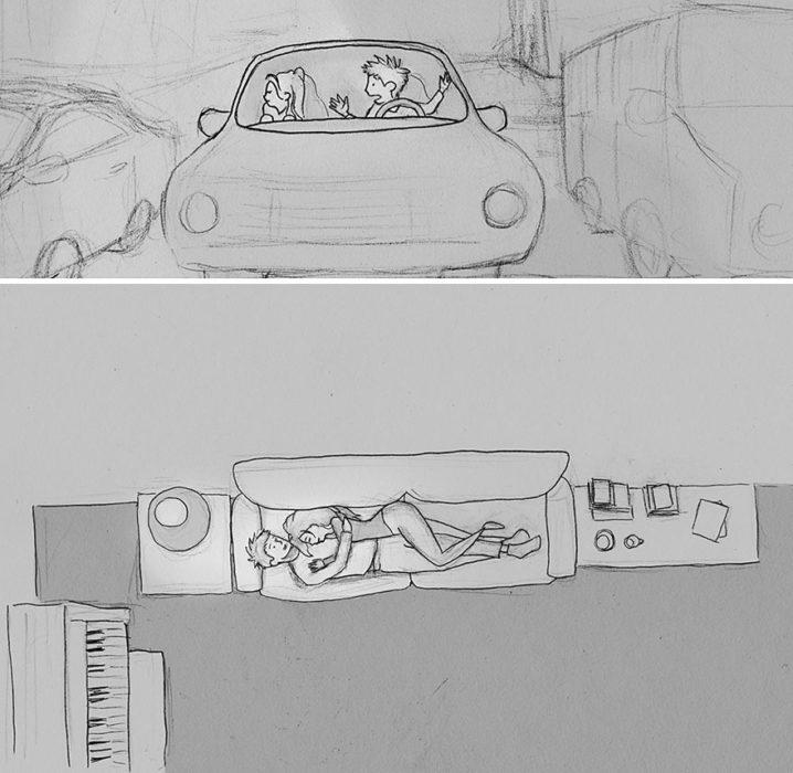 ilustración de una pareja teniendo una discusión y después durmiendo juntos