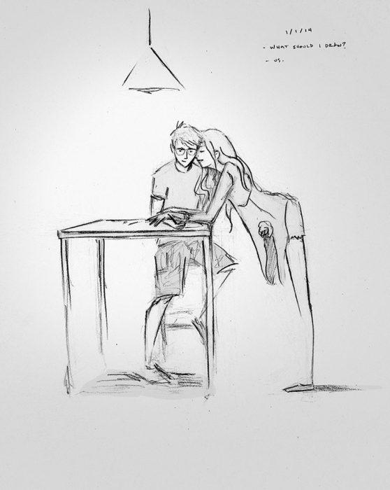 dibujo de un chico trabajando mientras su chica se recarga en su hombro