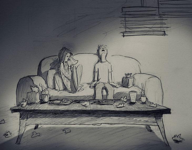 dibujo de una pareja enfermos sentados en un sillón