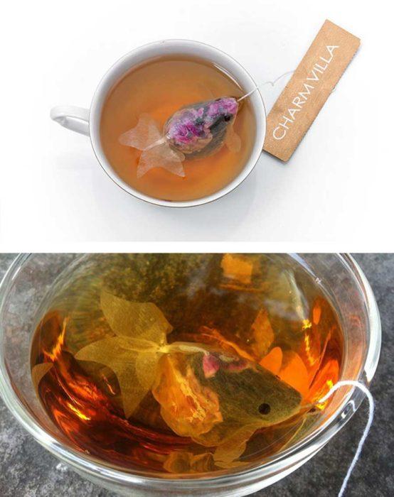 pez dorado en una bolsa de té