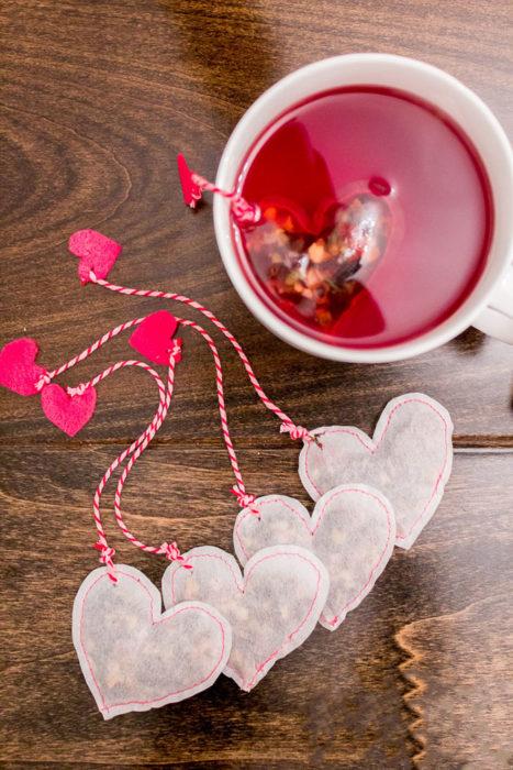 Bolsa de Té de corazones rojos