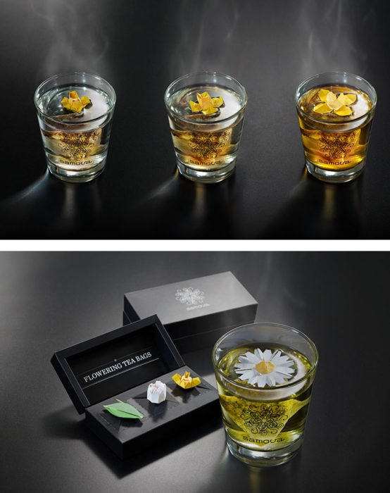bolsas de té con flores
