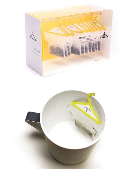 bolsita de té en forma de ganchos