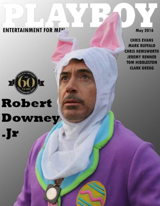 Robert Downey Jr vestido de conejo en una portada de la revista Playboy