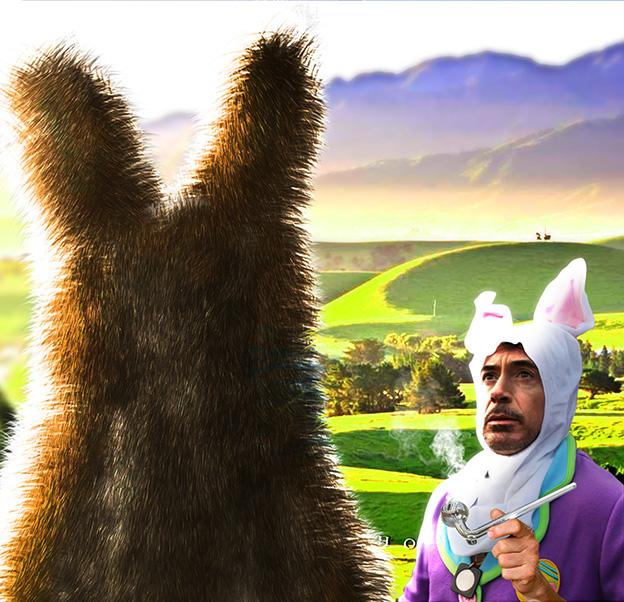 Batalla de Photoshop a Robert Downey Jr vestido de conejo