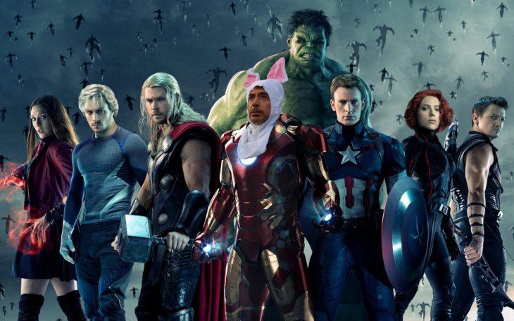 imagen de los vengadores con la cara de Robert Downey Jr vestido de conejo