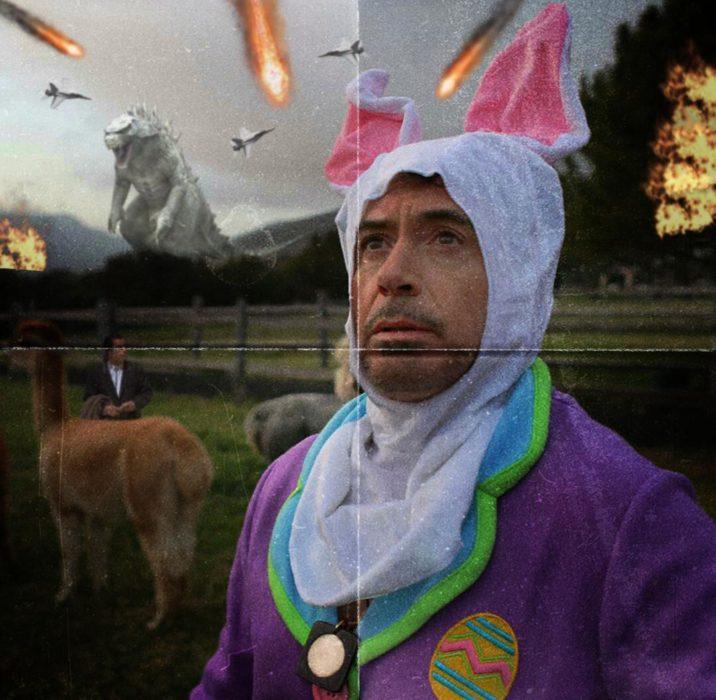Robert Downey Jr vestido de conejo en un escenario lleno de catastofre detrás de él