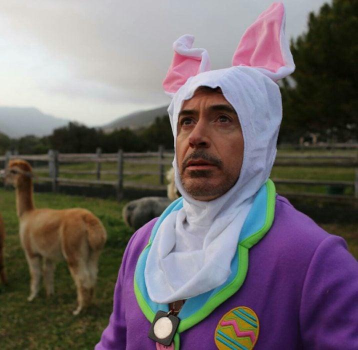 Robert Downey Jr vestido de conejo