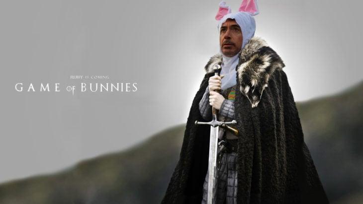 Robert Downey Jr vestido de conejo en un escenario con la frase Game of Bunnies