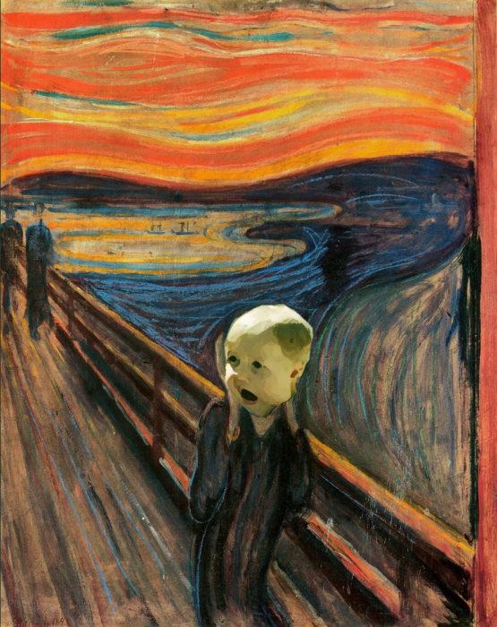 cara de un bebé sorprendido en la famosa pintura de el grito