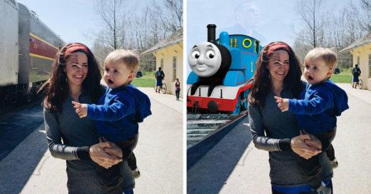 Trollean a bebé sorprendido por ver un tren por primera vez