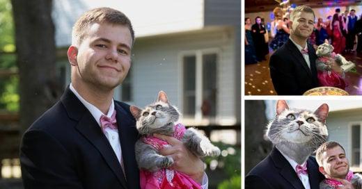 llevó a su gatita la graduación como pareja e Internet lo trolleó