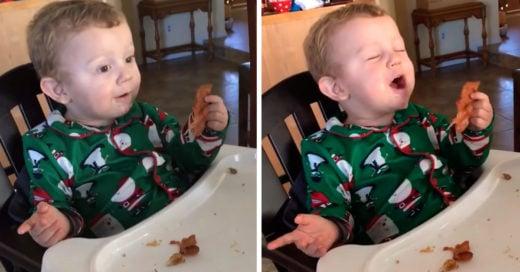 Video muestra la reacción de un niño que come por primera vez tocino