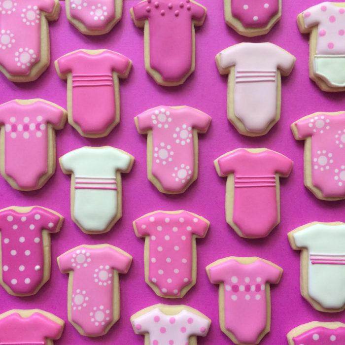 galletas en forma de pañaleros de bebé