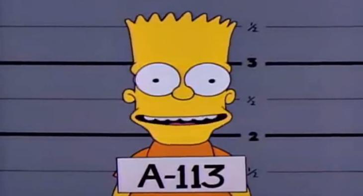 Simpson, A113 el número de ficha de Bart cuando lo meten a la cárcel