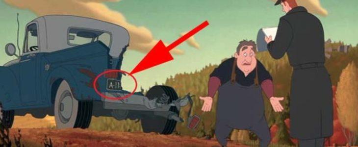 Disney, camioneta destrozada por meteorito, en la placa se leía A113