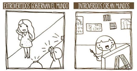 Ilustraciones que muestran como es la vida de los introvertidos