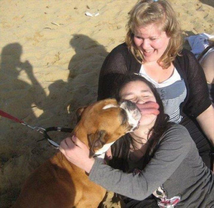lengua de un perro sobre la boca de una chica