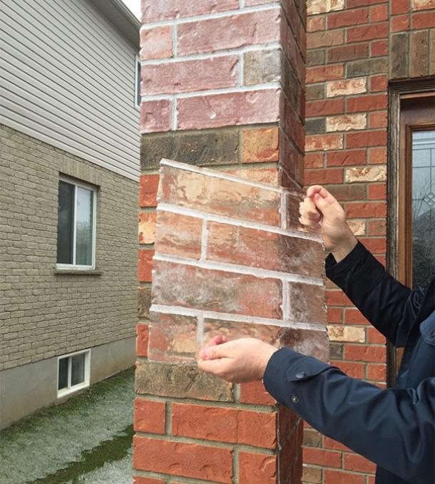 capa de hielo en forma de ladrillos