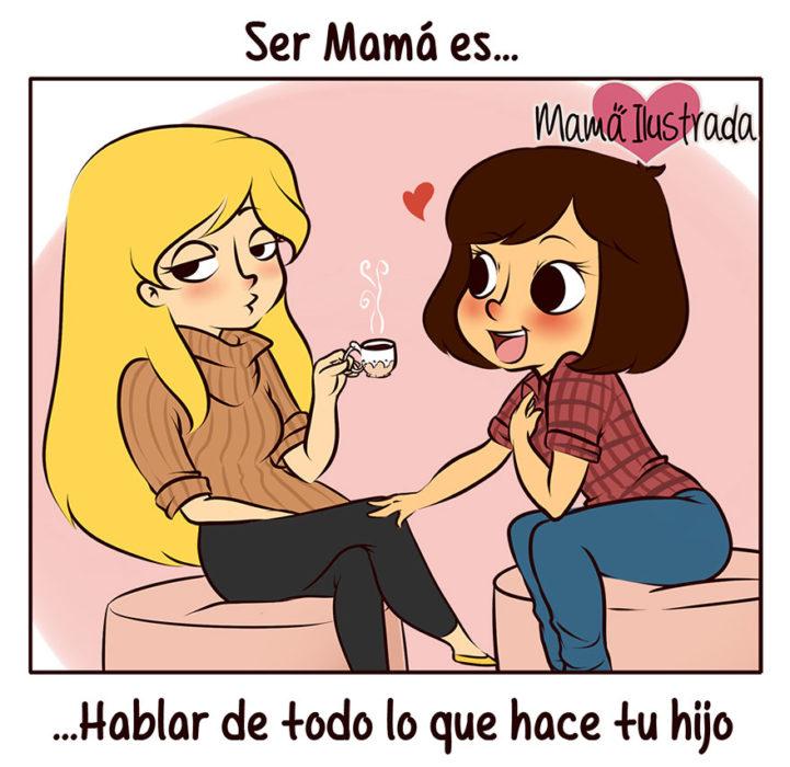 ilustración de una mamá hablando de su hijo con sus amigas