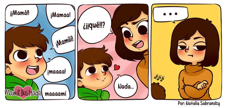 ilustración de un niño hablando a su mamá