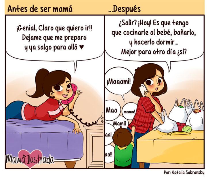 ilustración de una mamá hablando por teléfono