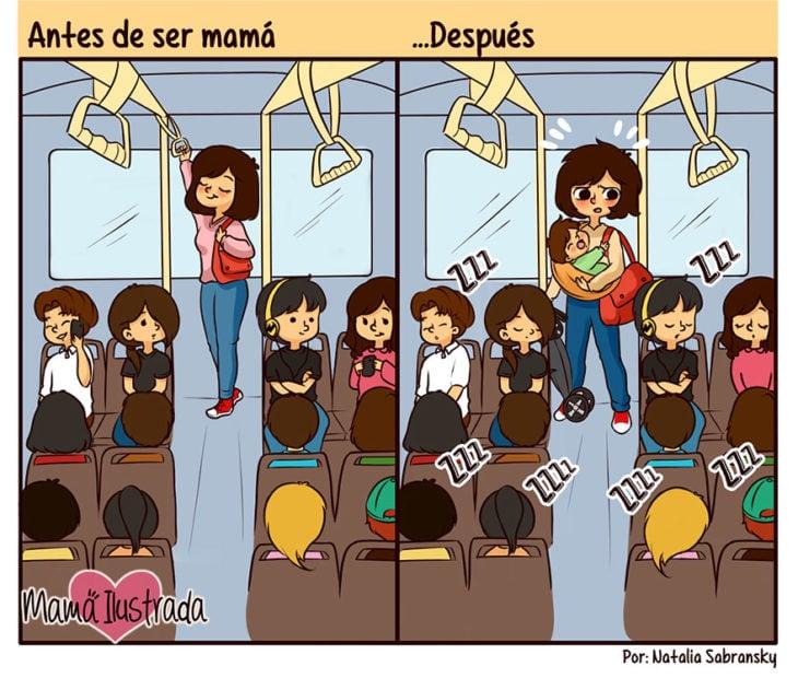 ilustración del antes y después de una mamá en el autobús