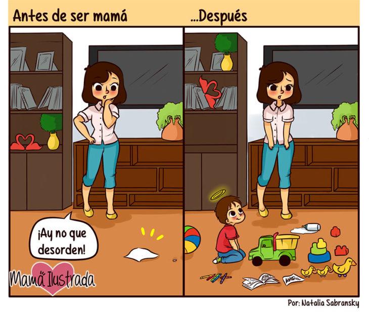 Ilustración de una chica antes y después de ser mamá