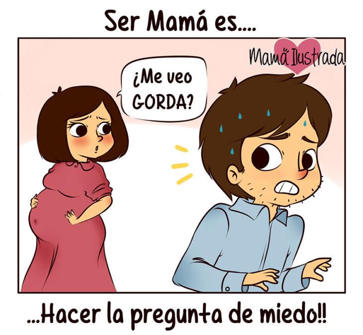 ilustración de una mujer embarazada preguntando a su esposo que si se ve gorda
