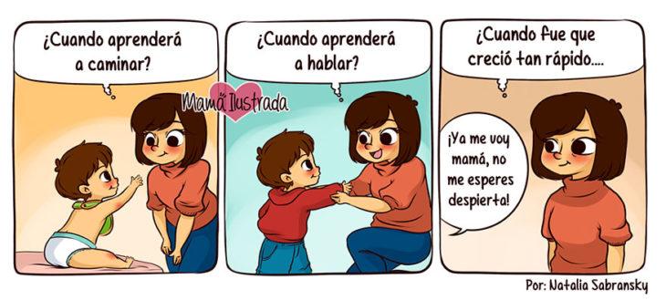 Ilustración de una madre viendo las diferentes etapas de su hijo