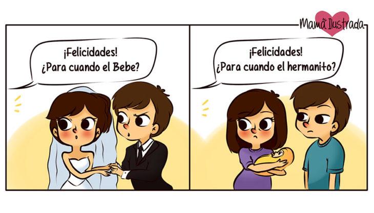 ilustración de una pareja después de casarse
