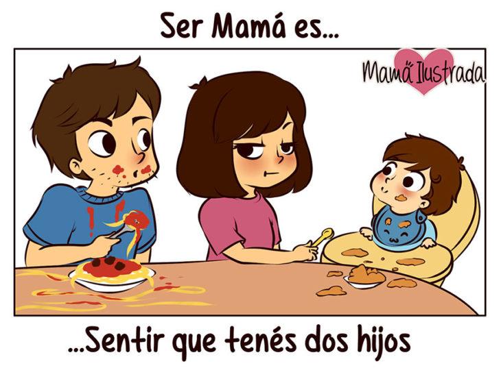 ilustración de ser mamá es sentir que tienes dos hijos