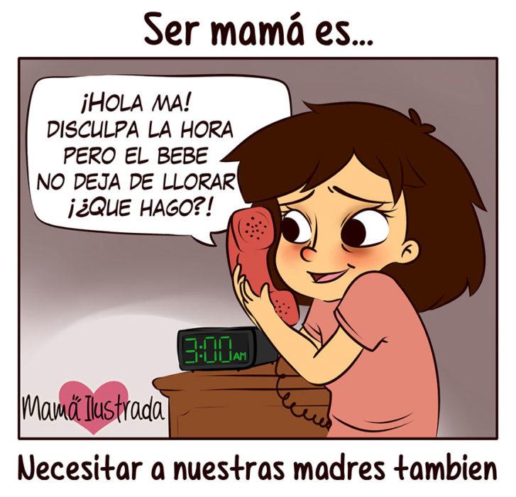ilustración de una mujer preguntándole a su mamá como cuidar a su hijo