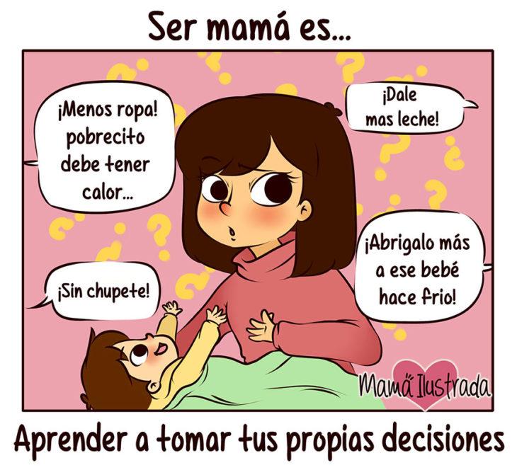 ilustración de una mama tomando decisiones
