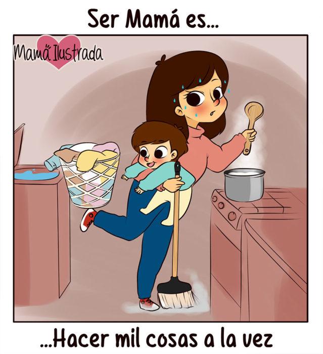 ilustración de una madre haciendo de comer y cuidando a su hijo