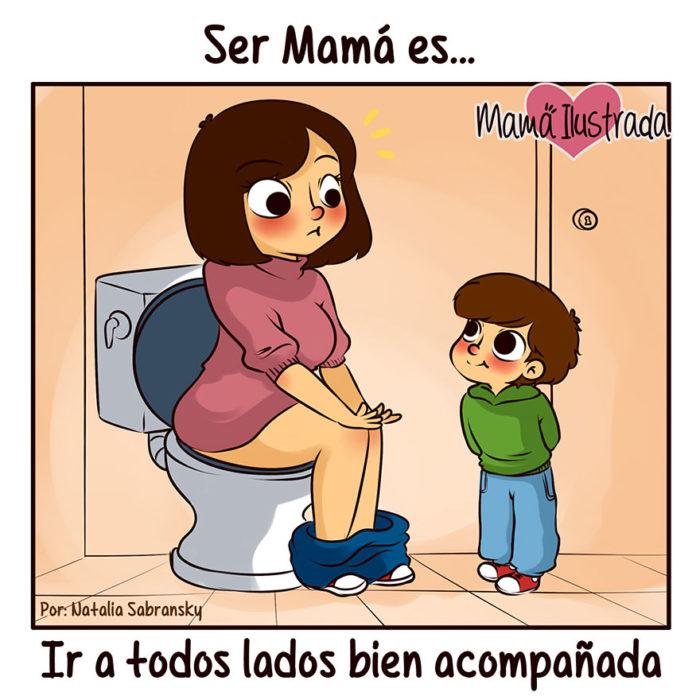 ilustración de una mamá en el baño frente a su hijo