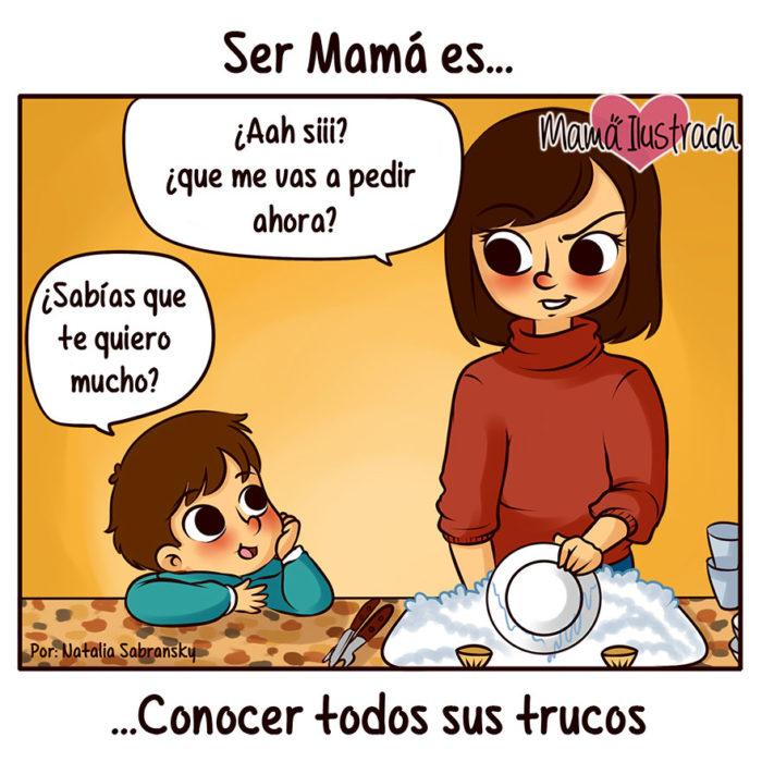 Ilustración de un niño viendo a su mamá lavar trastes