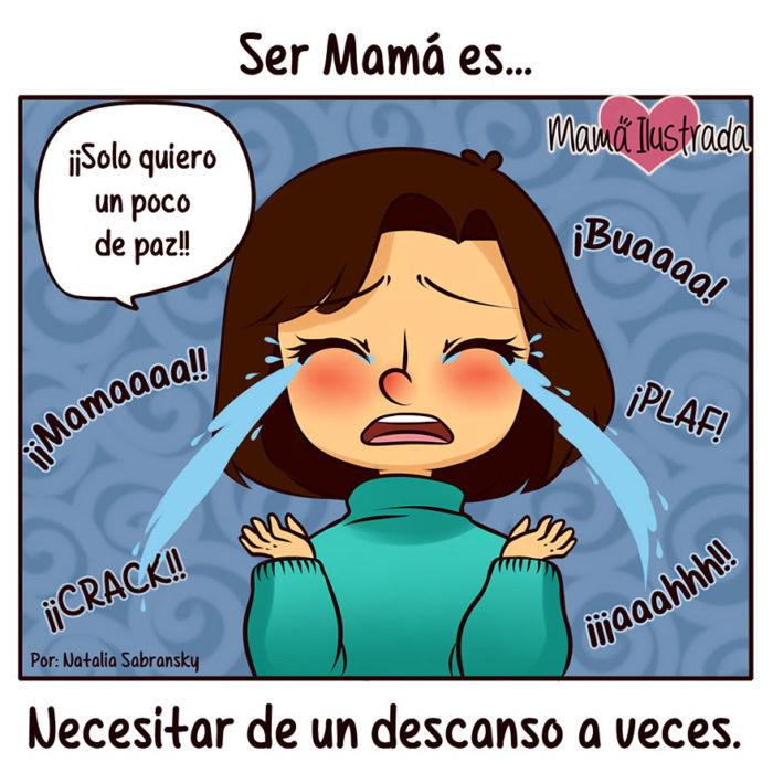 ilustración de una mamá llorando por un descanso