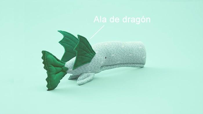 ballena con alas y cola de dragón