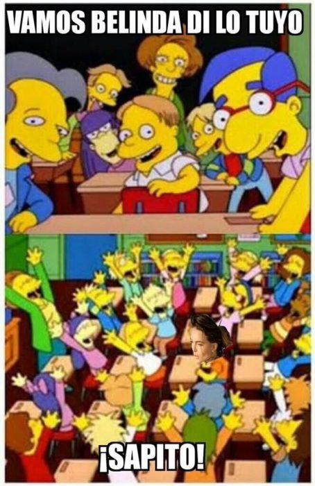 meme a lady Sapito en un capítulo de Los Simpsons