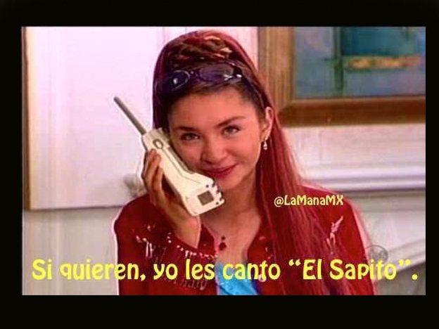 meme de Daniela lujan hablando por telefono a Lady Sapito