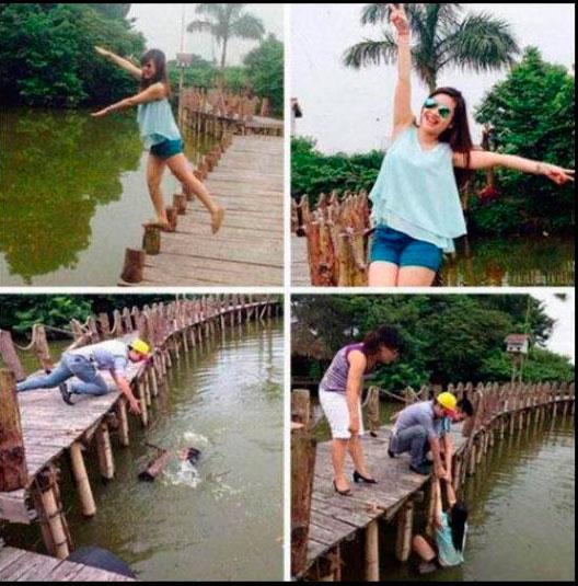 mujer se cae al tomarse la fot en el banquito