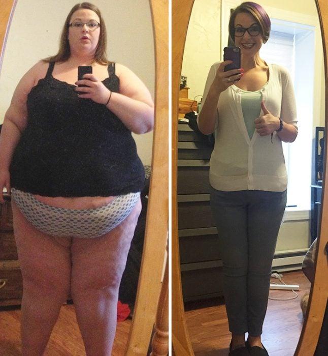 mujer que bajo muchisimos kilos