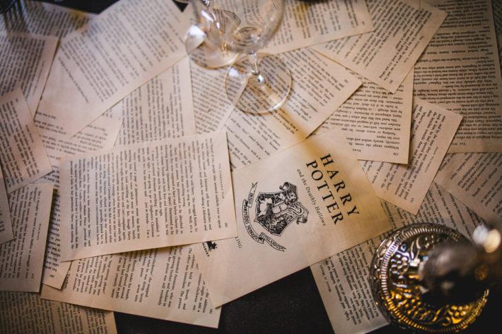 copas y hojas del libro de Harry Potter