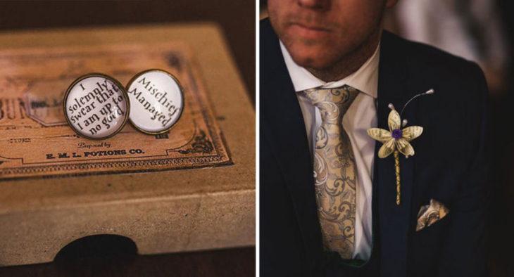 detalles de los anillos y del chico que se casó al estilo Harryu Potter