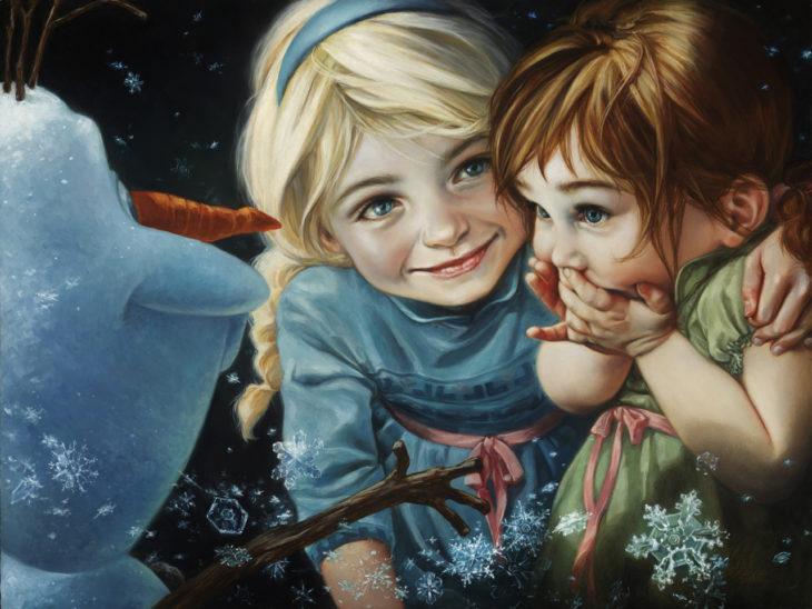Anna y Elsa en una ilustración de pintura clásica en Óleo