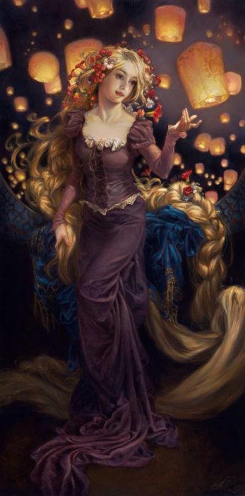 Ilustración de Rapunzel en una pintura clásica