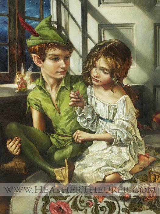 Peter Pan y Wendy en una pintura clásica renacentista