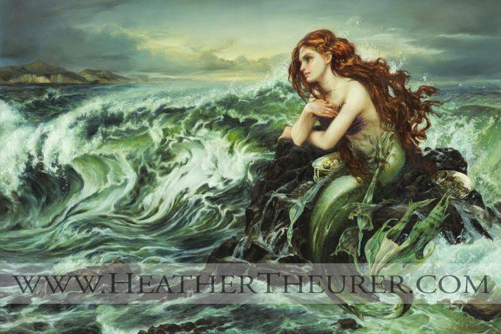 Ilustración de La Sirenita en una pintura clásica